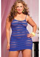 Riot Girly- Net Striped Dress -blue Qs
